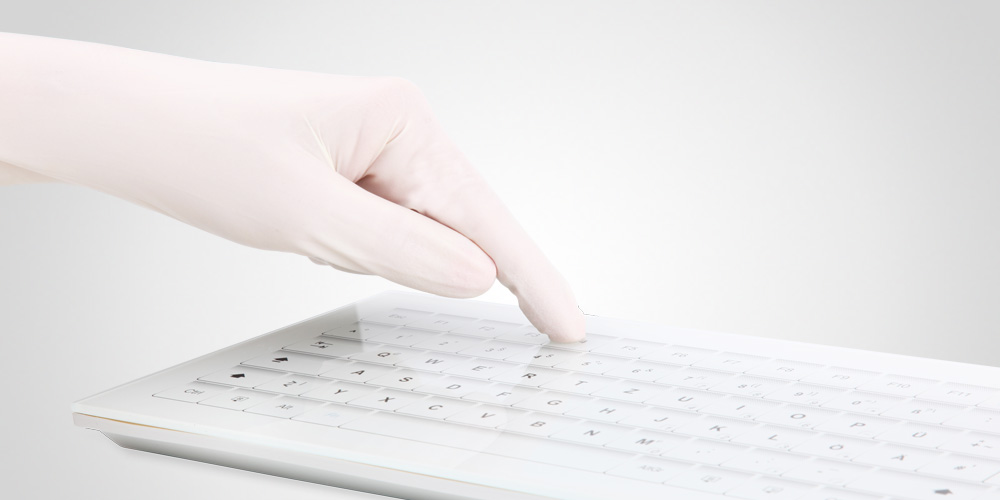 HospiTouch Alphanumeric keyboard with glass surface